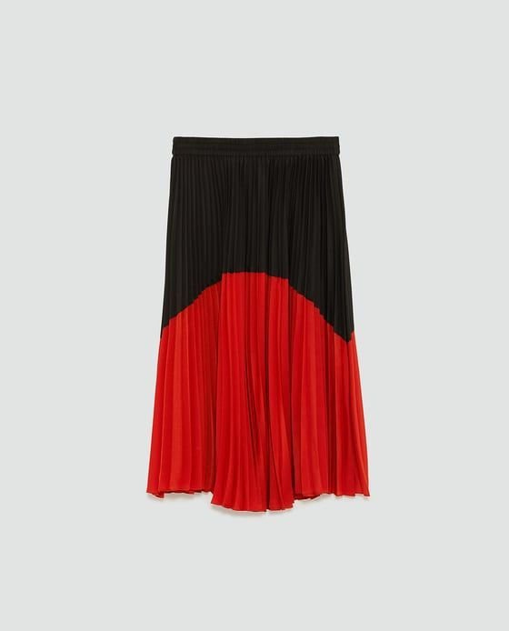 Image 8 of TWO-TONE PLEATED SKIRT from Zara