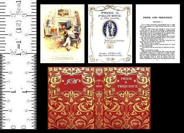 1 6 Scale Miniature Book Pride And Prejudice Illustrated Jane