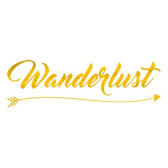 A golden prismfoil temporary tattoo with the text 'Wanderlust'. #t4aw #tattooforaweek #primsfoil #gold #temporarytattoo #wanderlust #tattoo