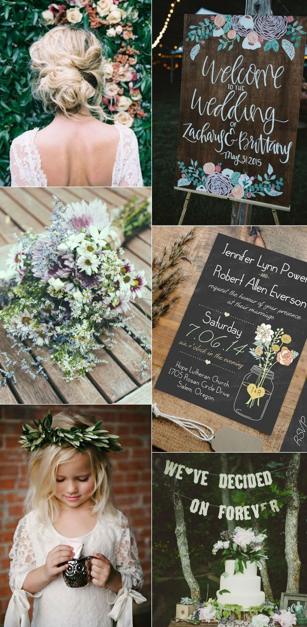 boho rustic wedding invitations mason jars heart chalkboard