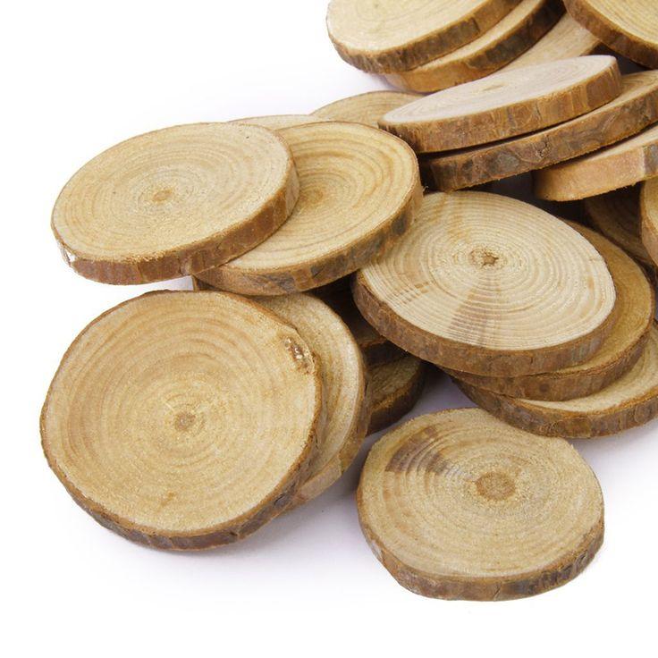 30pcs 4-5CM Wood Log Slices Discs DIY Crafts Wedding Centerpieces Nature Pine…