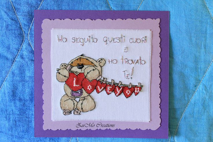Fizzy Moon | cross stitch card with beeds