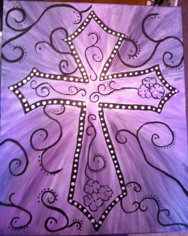Purple Cross: acrylic painting