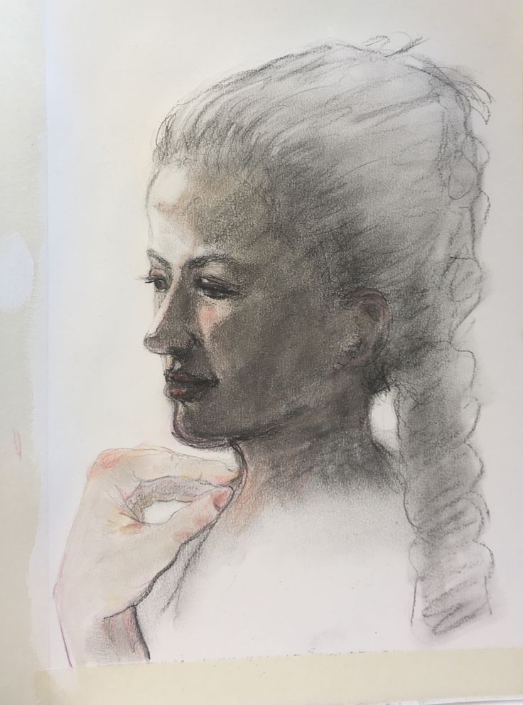 Portrait, drawing with graphite, coal and colorpencil. By kjersti dirdal