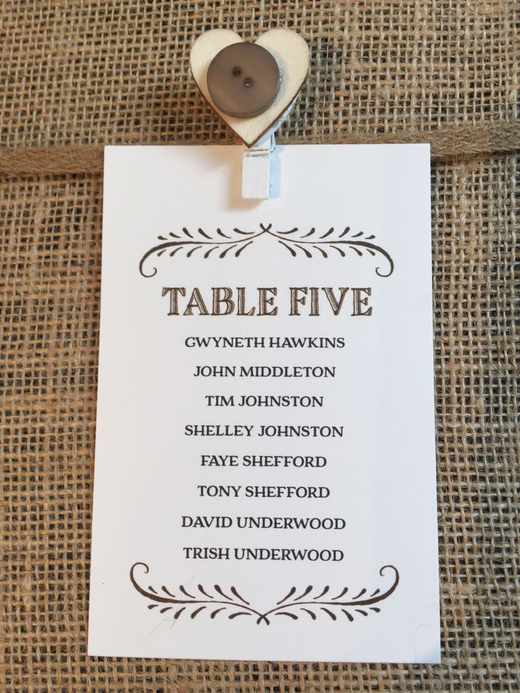 Table plan card printed on ivory textured card. With wooden vintage peg and button detail.