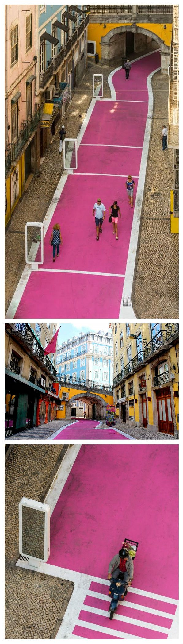 Rua Nova do Carvalho in Lisbon is better known as the Pink Street.  Painted pink as part of an urban regeneration project by architect, José Adrião, it is the perfect centerpiece to a burgeoning, creative part of town! Around the world in 80 places & spaces: https://www.jovoto.com/blog/creatives/interior-design-and-architecture-around-the-world/?utm_source=pinterest.com&utm_campaign=cm16pincontent&utm_medium=social&utm_content=80days