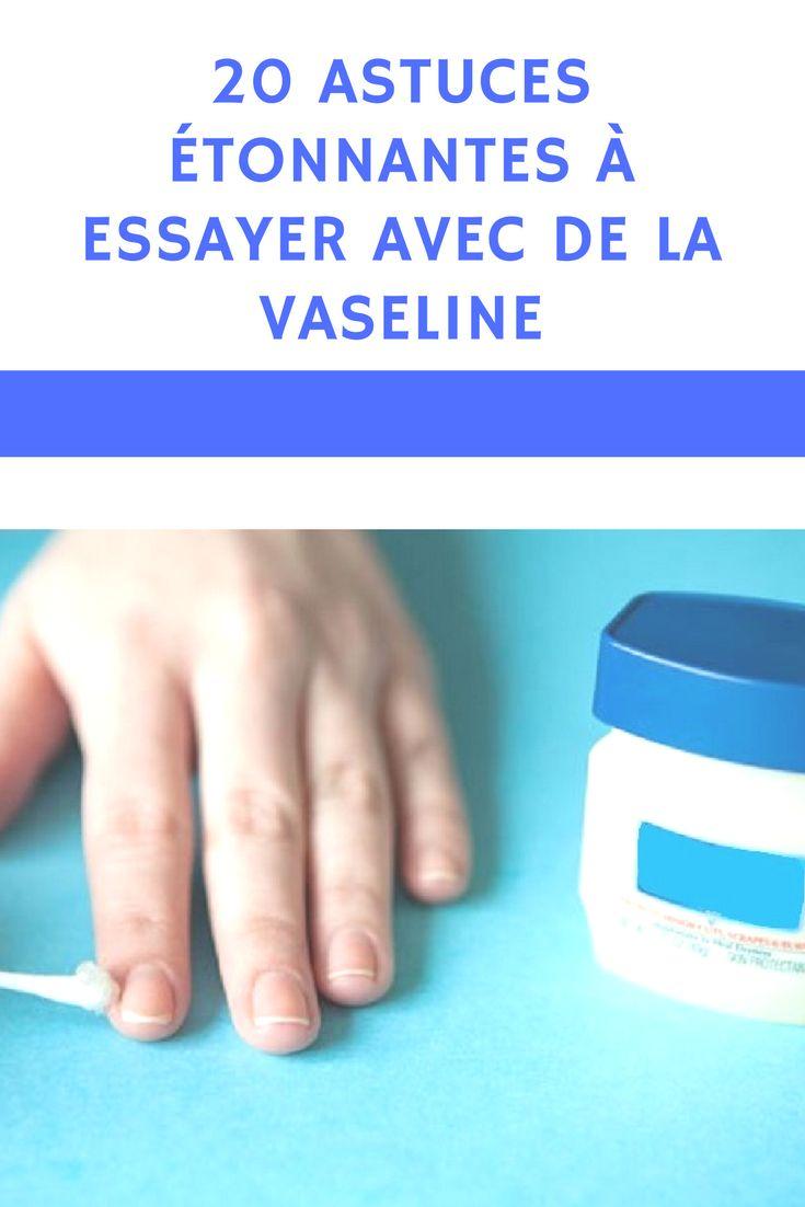 20 astuces étonnantes à essayer avec de la Vaseline  Vaseline est un produit à base de pétrole qui forme une gelée hypoallergénique et non irritante. Il est généralement utilisé pour hydrater profondément la peau endommagée ou sèche afin d'accélérer la récupération. Vous serez surpris de tout ce que vous pouvez faire.      Astuces Vaseline, Vaseline, Bienfaits Vaseline