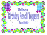 Balloon birthday pencil toppers...FREE!