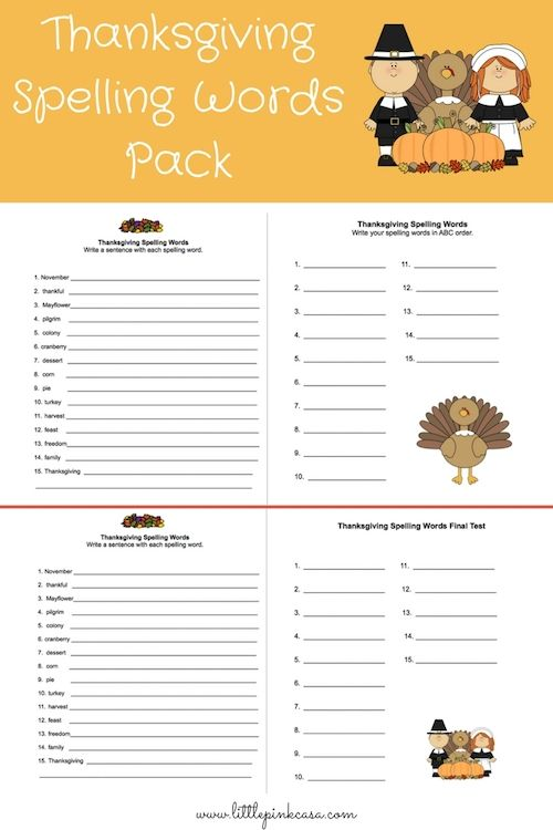FREE Thanksgiving Spelling Words Pack! It's a one week spelling activity pack of 5 pages which includes: Thanksgiving spelling words, copy work 3 times each, sentences, abc order, pre-test and final test fill in the blanks. Great for 1st grade-4th. Use this pack as a fun alternative to your spelling curriculum, or with your Thanksgiving unit study.