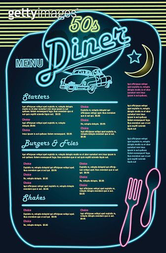 Late night retro 50s Diner neon menu layout with car - gettyimageskorea