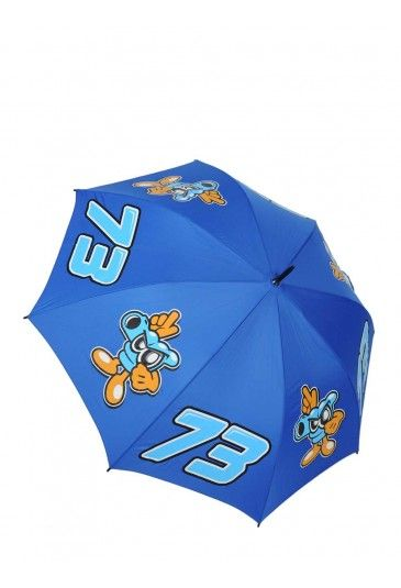 Umbrella for Alex Marquez fans that don't want to miss out on seeing their favourite rider just because it's raining. Blue umbrella featuring large El Pistolero cartoon gun mascot and Marquez race number 73.