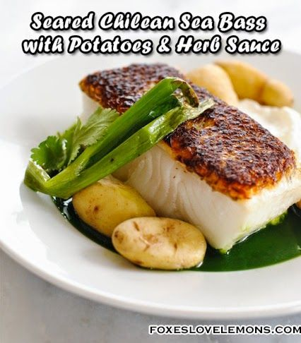 Seared Chilean Sea Bass with Potatoes & Herb Sauce - Make a beautiful, healthy restaurant-quality dish at home in 17 minutes. - #Seafood