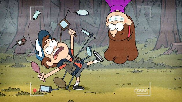 "Lol Dipper is hilarious ""A MIRROR SUIT! NOTHING CAN SNEAK UP ON OLD DIPPER PI-"" Mabel jumps out and Dip falls ""DIPPER DOWN""."