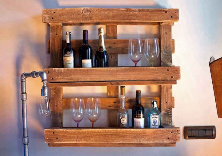 Portabottiglie in legno | Lampada tubi idraulici www.spazioecofficina.org