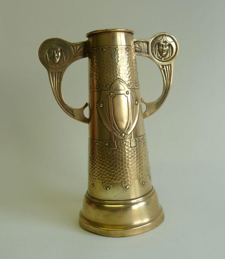 art nouveau jugendstil original brass vase 1900s https://www.etsy.com/listing/176761615/art-nouveau-jugendstil-original-brass?