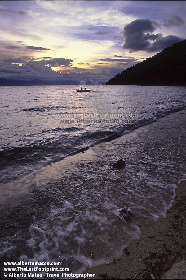 Fishermen boat at sunrise, Lake Malawi.