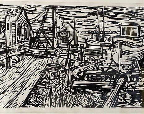 "Feckless Art (@feckless_artcollector) on Instagram: ""Steveston on the Fraser, Sam Black. Detail of print from the collection. #boats #docks #bcartist…"""