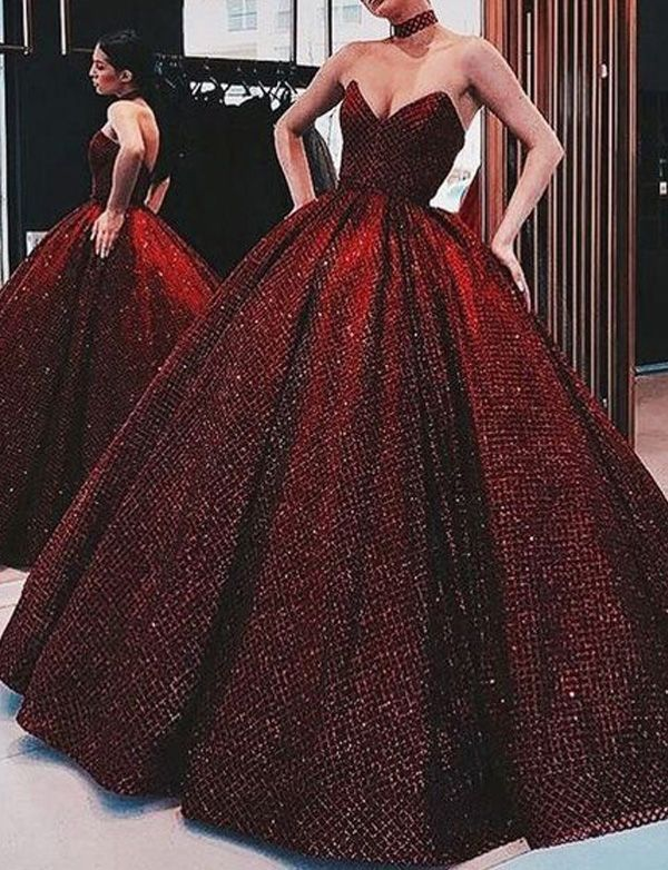 2ff7acbfb1 Sweetheart Red Ball Gown Long Prom Evening Dresses with Beading in ...