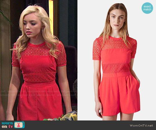 Emma's red eyelet romper on Jessie.  Outfit Details: http://wornontv.net/49145/ #Jessie