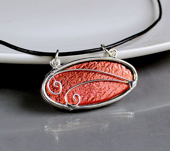 OOAK Rose Gold Dichroic Pendant - Stained Glass Jewelry Necklace