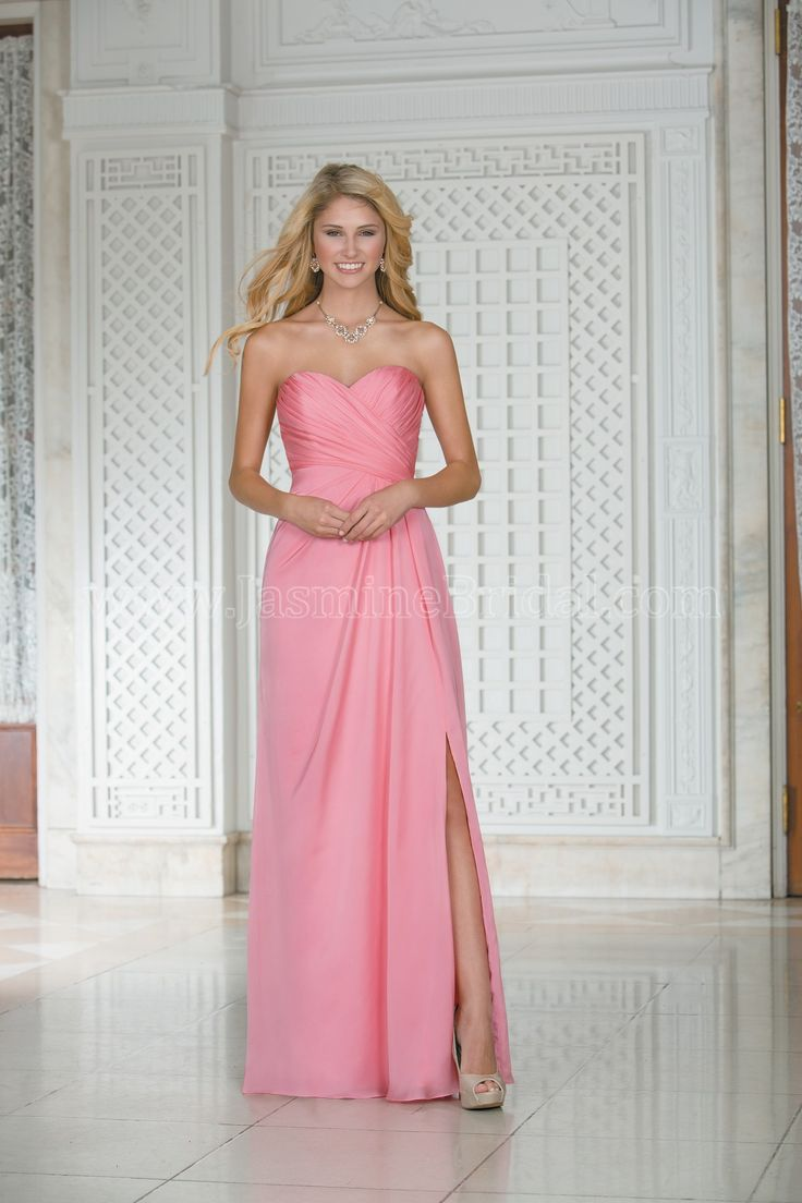 Buy cheap strapless floor length chiffon coral bridesmaid dress - Jasmine Bridal Bridesmaid Dress Belsoie Style In Coral This Amber Satin Chiffon Dress Features A Strapless Sweetheart Neckline A Sheath Skirt
