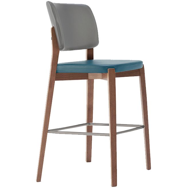 Dixie 3.0. Barstool with upholstered seat and back and wooden frame in natural beech. Stainless steel kick-plate on front footrest included.
