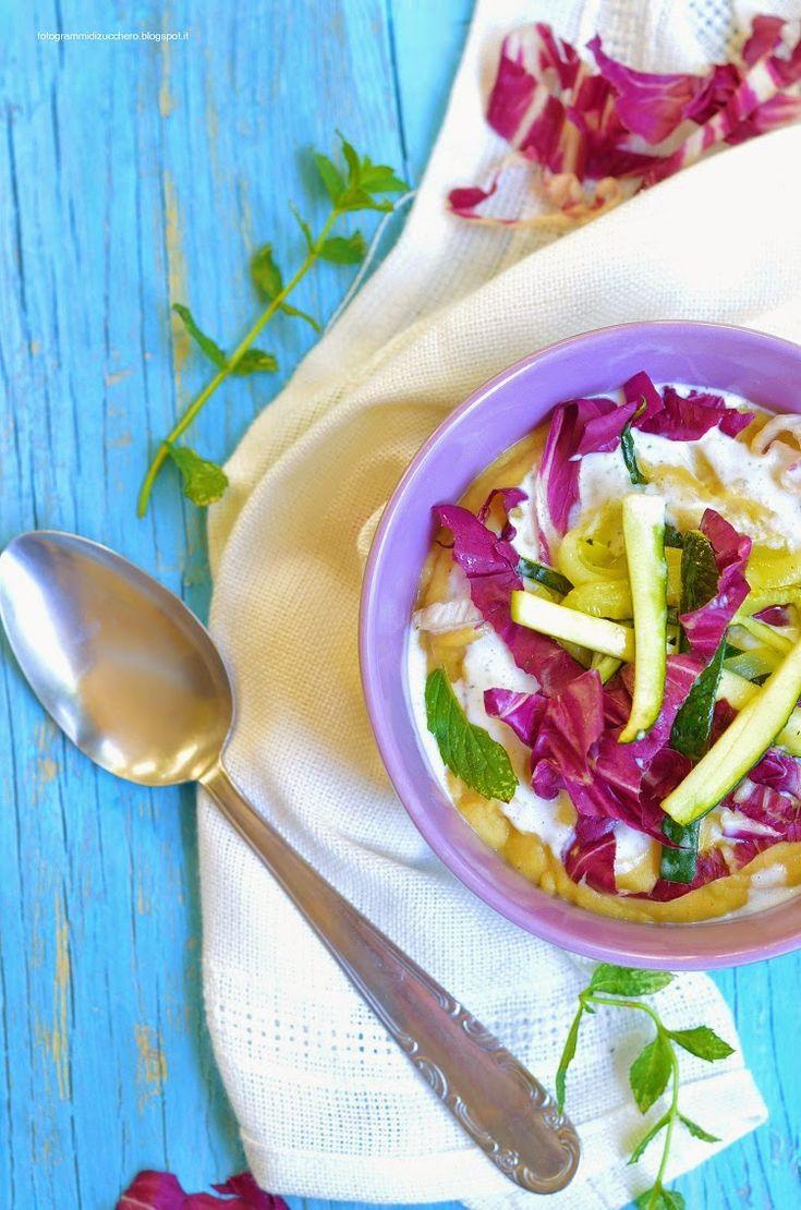 Crema di ceci speziata con yogurt alla menta, zucchine e radicchio- Creamy spaced chickpea soup