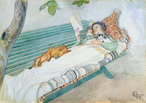 Woman Lying on a Bench  -   Carl Larsson, Swedish 1853-1919.  Cozyhuarique: