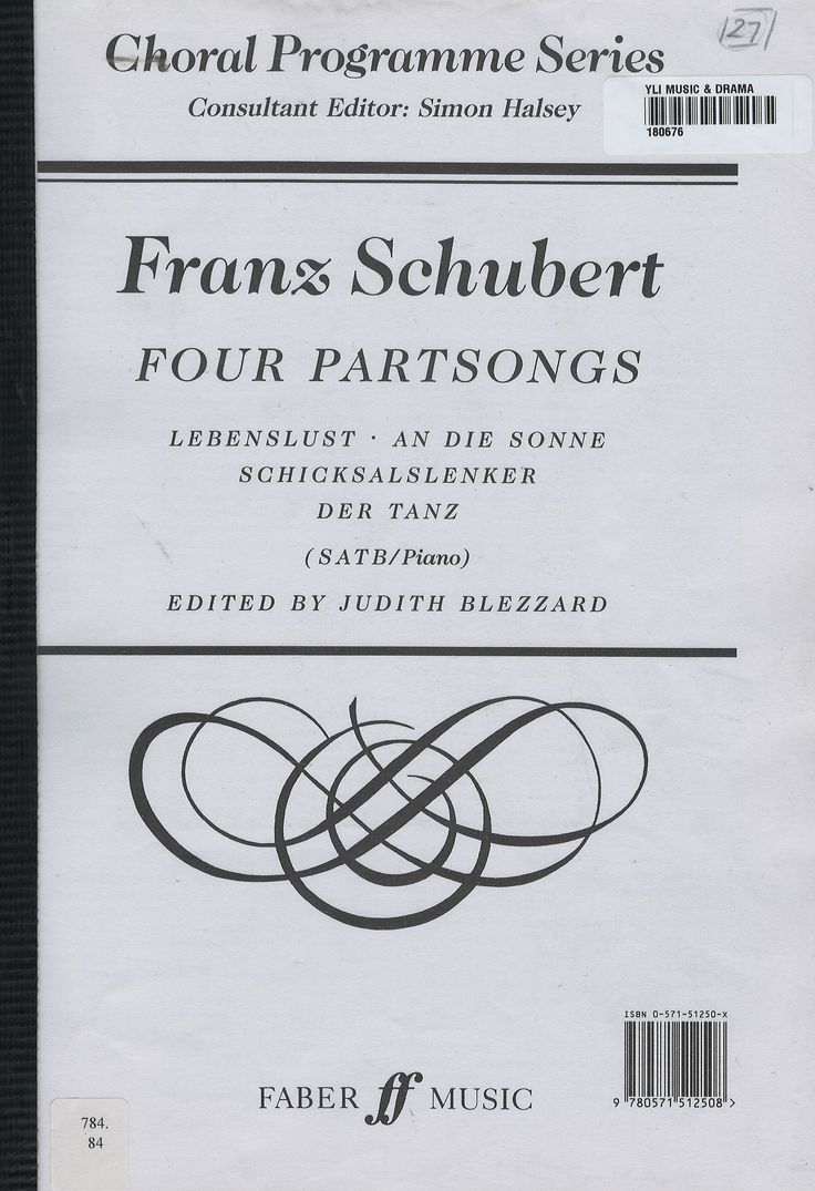 These four partsongs - Lebenslust, An die Sonne, Schicksalslenker and Der Tanz - are among the best of Franz Schubert's little-known repertory for mixed voices with piano accompaniment.  The Choral Programme Series is now a well-esatablished programming tool for many choirs as it offers a wealth of fresh material from many eras and in many styles. Also offering great value for money as each volume in the series provides up to forty minutes of music.
