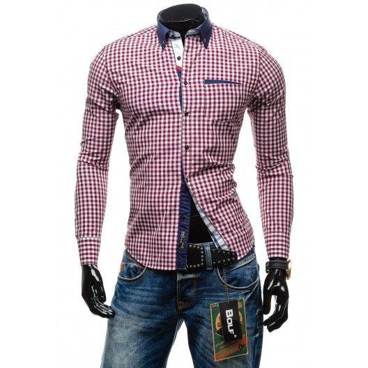 Pánska bordová košeľa s kockovaným vzorom - fashionday.eu
