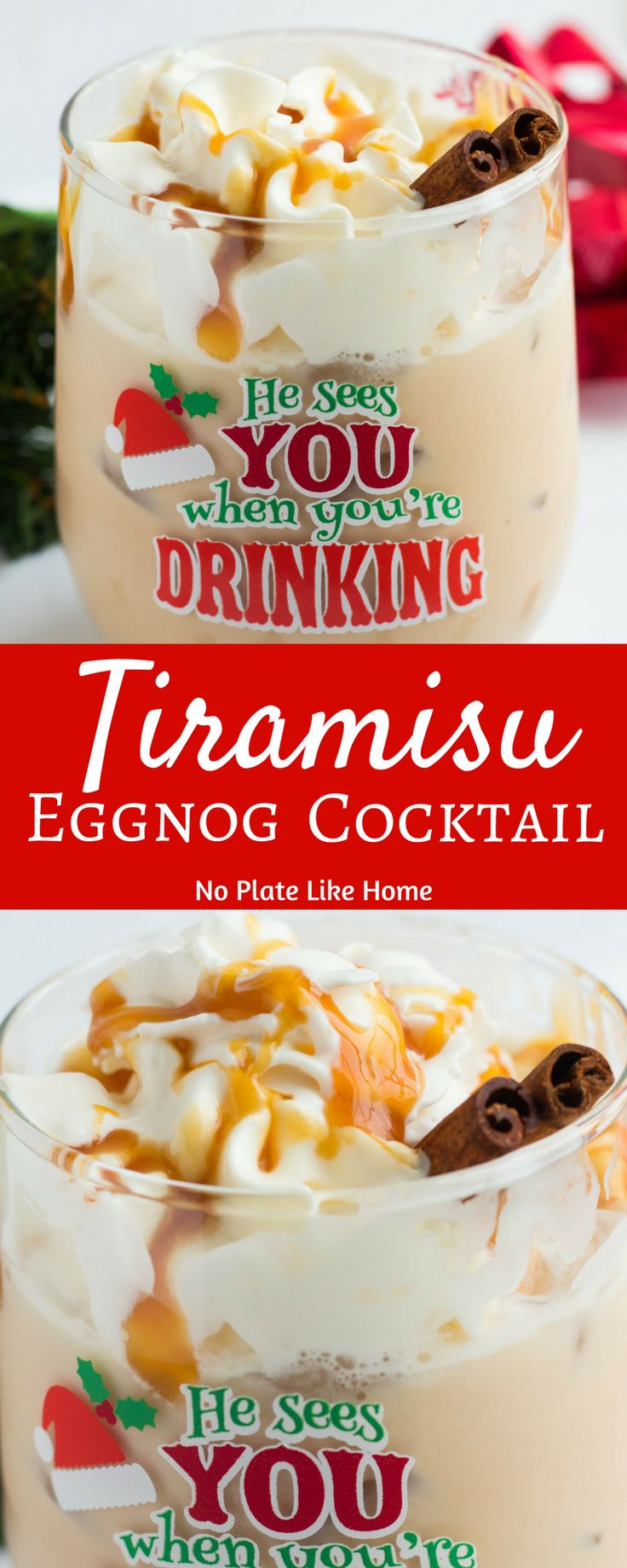 Tiramisu Eggnog Cocktail is an easy and simple cocktail to make for holiday parties. Made with white rum, coffee liquor, eggnog, chocolate syrup and topped with whipped cream, who could resist? Pitcher instructions included. Pin for the holidays!