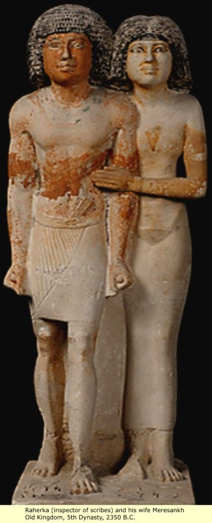 Raherka (inspector of scribes) and his wife Meresankh, Old Kingdom, 5th Dynasty, 2350 B.C.