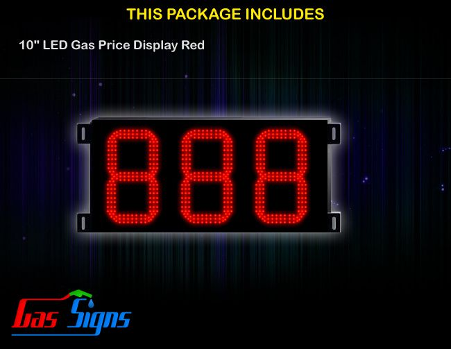 10 Inch 888 LED Gas Price Display Red with housing dimension H347mm x W704mm x D55mmand format 888 comes with complete set of Control Box, Power Cable, Signal Cable & 2 RF Remote Controls (Free remote controls).