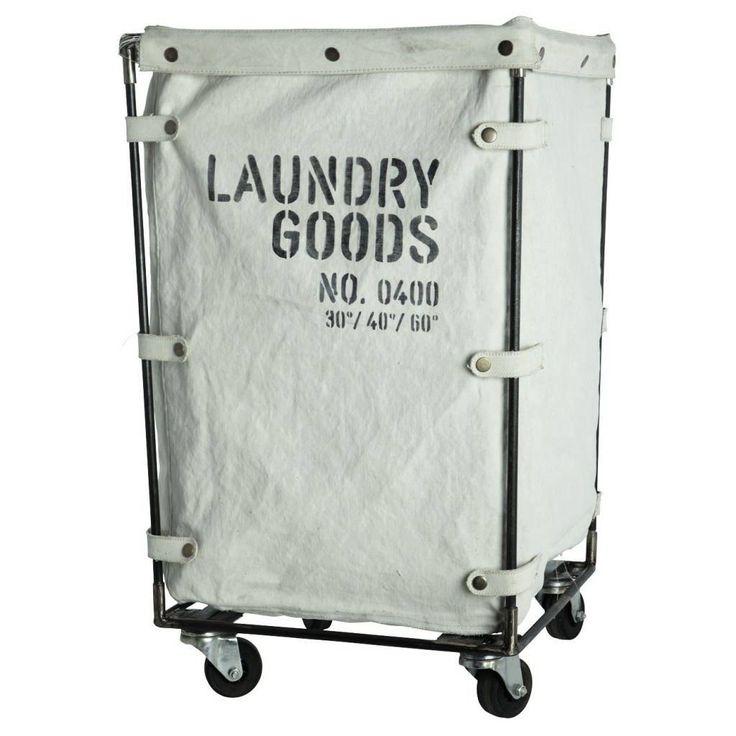 Stoere wasmand trolley met een stevige canvas waszak. Deze wasmand van Housedoctor is gebroken wit en voorzien van een zwarte tekst opdruk: Laundry Goods No.400