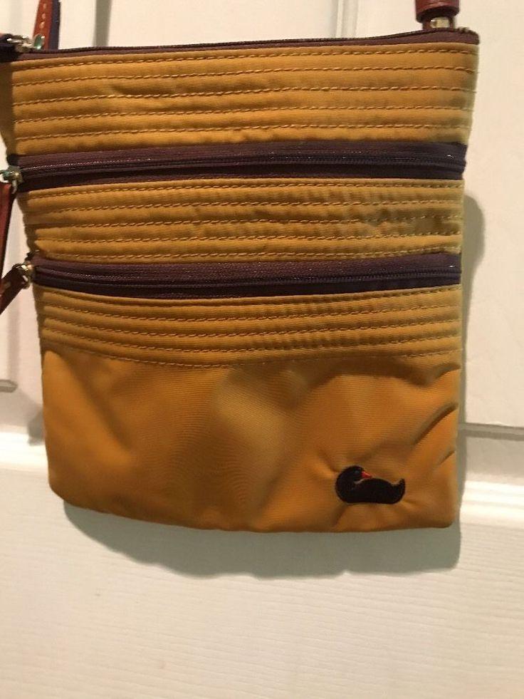 Dooney & Bourke Black Nylon Tan Leather Strap Crossbody Purse Duck 🦆 #DooneyBourke #MessengerCrossBody