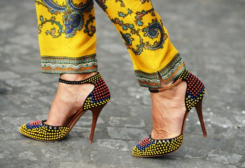 DIY neon rhinestone pumps  what-do-i-wear:    The European Situation by Tommy Ton (image:style)