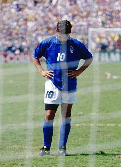 Roberto Baggio in one of the most iconic picture in football history.