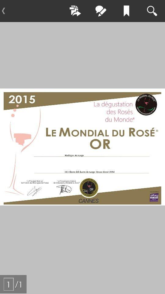 Medalla de oro -Rosae 2014 Arzuaga