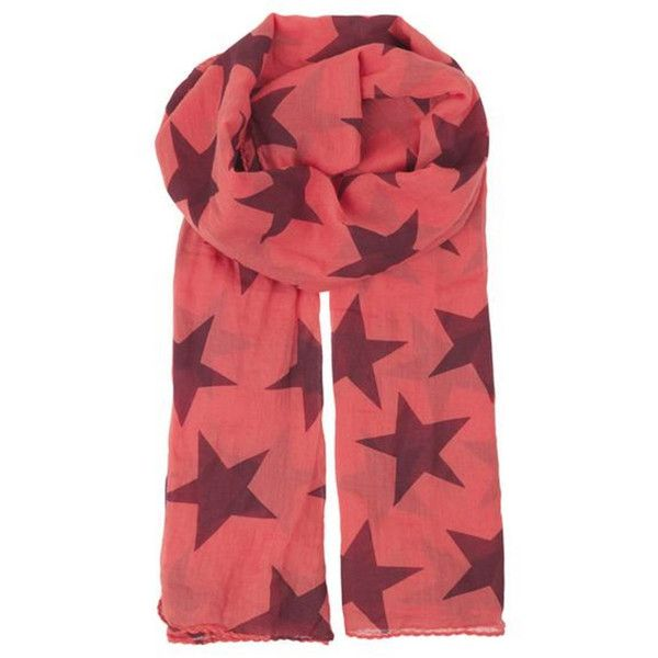 Becksondergaard Fine Twilight Cotton Scarf - Spiced Coral ($31) ❤ liked on Polyvore featuring accessories, scarves, spiced coral, cotton scarves, lightweight summer scarves, star scarves, cotton shawl and lightweight scarves