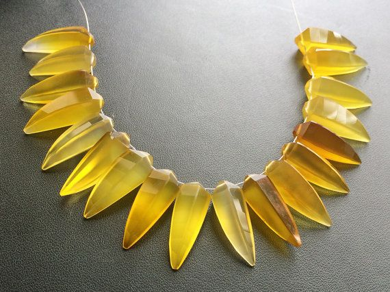 WHOLESALE 10 Pcs Yellow Chalcedony Yellow by gemsforjewels on Etsy