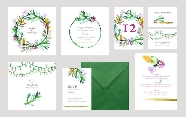 Customizable illustrated templates for wedding stationery