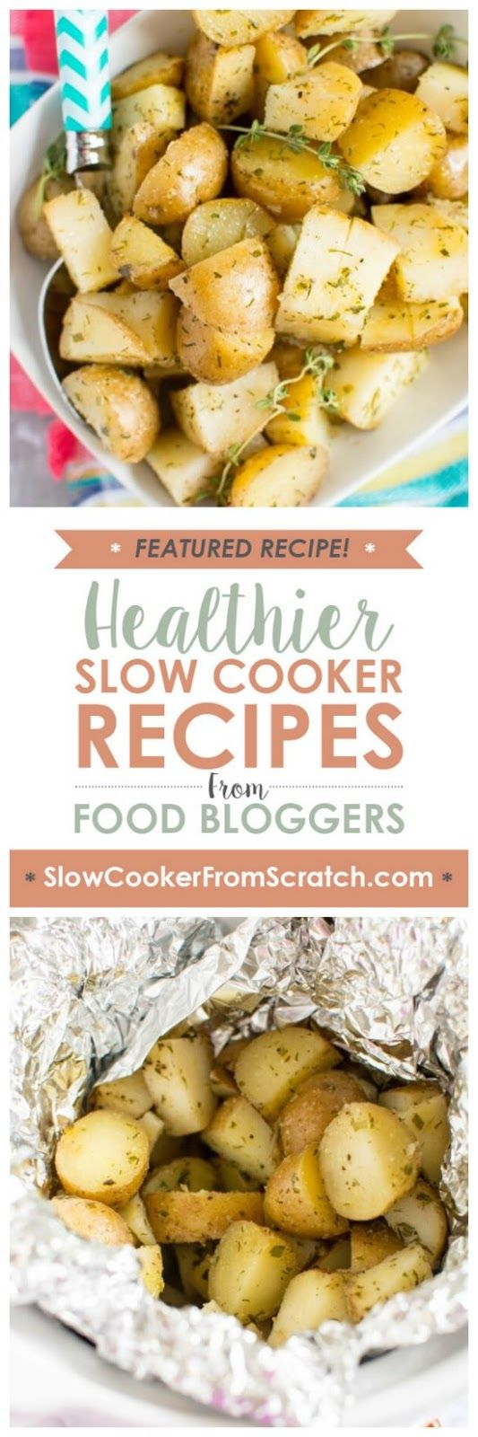 Slow Cooker Ranch Potatoes from Slow Cooker Gourmet have a homemade ranch seasoning mix, no chemicals! And this is perfect for an easy side dish. [featured on SlowCookerFromScratch.com]