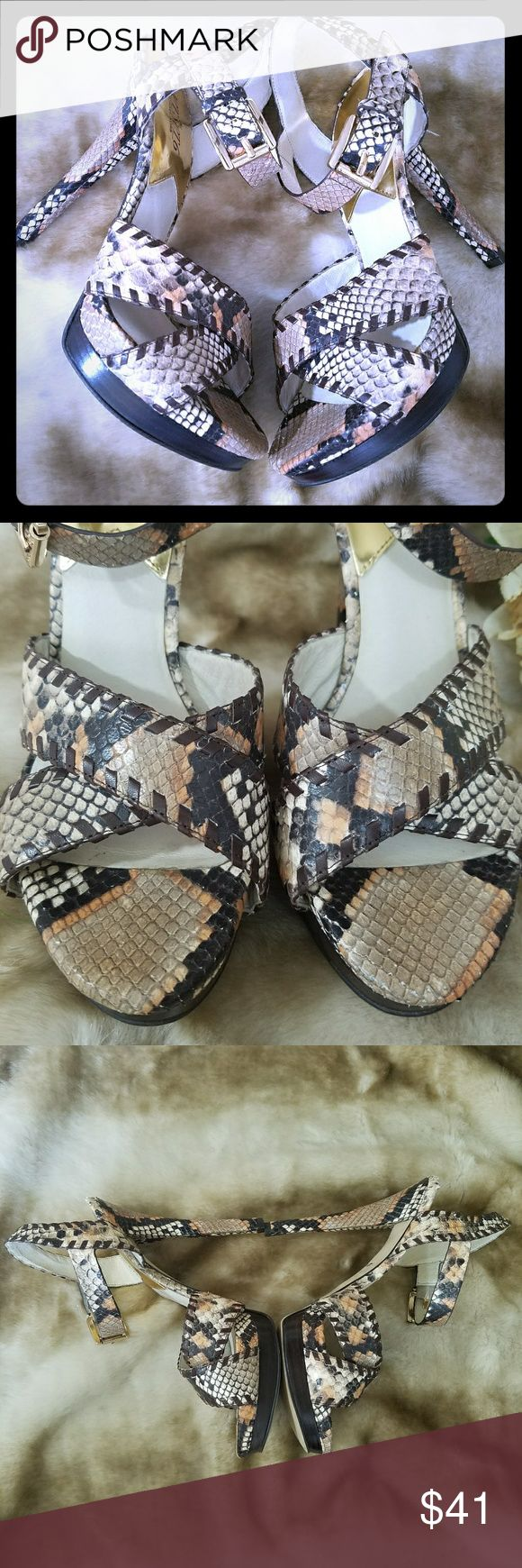 Michael Kors Animal Print Heel Sandals The Jet Set 6 Odessa 10M Leather upper 👉Pre luved condition. The back top of heels are a little frayed, see pics. 🔎 🙌🏽Gorgeouse sandals. Make them yours!💥 Michael Kors Shoes Heels