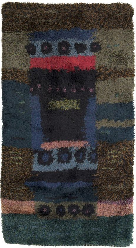 Arne Lindaas; Hand-Knotted Wool 'Forest Floor' Rya Rug for Sellgren, 1959.