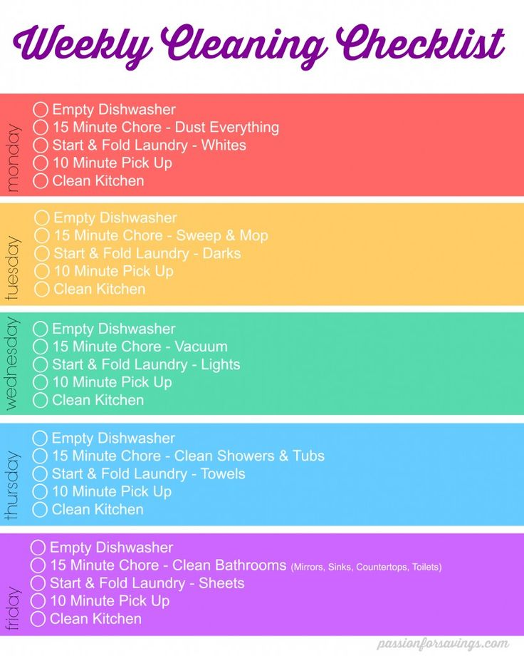 I created this weekly cleaning checklist, it's a reminder of what I need to get done each day download the FREE Printable Weekly Cleaning Schedule Here.