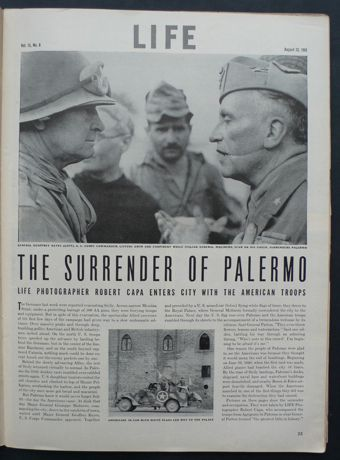 """Robert Capa """"Surrender of Palermo"""" 23 August 1943 LIFE Magazine-Capa joined the US 7th Army's 200 mile dash across Sicily, catching the Germans by surprise and Palermo without a fight. He photographed the surrender of Italian General Molinero to Major General Geoffry Keyes. Capa turned his camera on the newly liberated civilian population and scenes of bomb damage."""