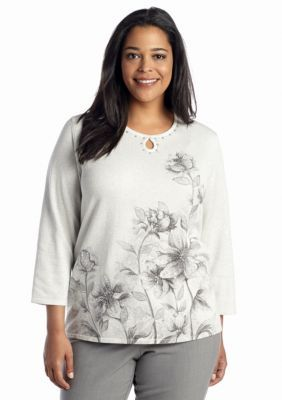 Alfred Dunner  Plus Size Jewelry Box Floral Border Print Sweater