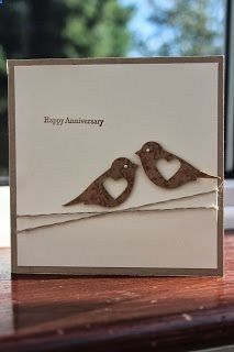 handmade lovebird card ... two step bird punch with heart punched out for negative space ... clean and simple ... crossed twine wrap, small sentiment and two birds facing each other ... luv it!! - diyenergy.biz