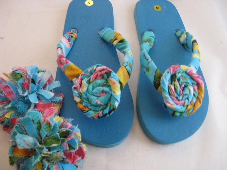 Blue Pink Decorated Flip Flops Womens