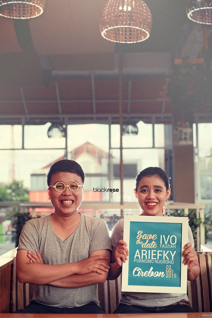 """This is my style """"Ivoe & Riefky"""" #savethedate #cafe #indoor #couple #prewedding #whiteframe #evening #blackrosepictures #blackroseconcept"""